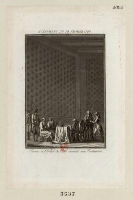 Événement du 19 fevrier 1790 Favras à l'Hôtel de Ville dictant son testament : [estampe]