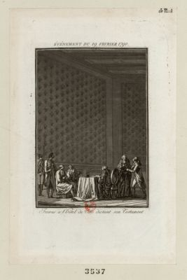 Événement du 19 fevrier <em>1790</em> Favras à l'Hôtel de Ville dictant son testament : [estampe]