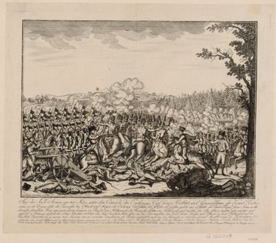 Sieg der K.K. Armee am 21 März, unter dem Comando des Erzherzogs Carl König Hochheit, und Generalissimus der K. und Reichsarmee an der Donau, über die Franzosen, bey Ostrach und Mengen [estampe]
