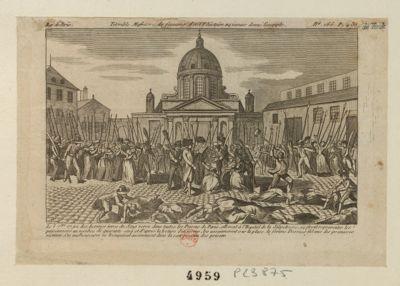 Terrible <em>massacre</em> de femmes dont l'histoire n'a jamais donné l'exemple le 3 <em>7</em>.bre <em>1792</em> des hommes ivres du sang versé... : [estampe]