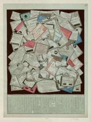 Collection des papiers-monnoyes qui ont eut cours depuis l'année 1789 èpoque où a commencé la Révolution française, jusques <em>et</em> compris l'an 1796... : [estampe]
