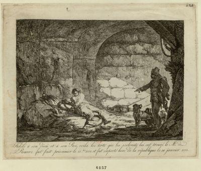 Fidèle à son Dieu et à son Roi, voilà les torts que les scélérats lui ont trouvé, le Mr de Rouvre fut fait prisonnier le 27 .bre [sic] 1792 et fut exporté hors de la République le 14 janvier 1793 [estampe]