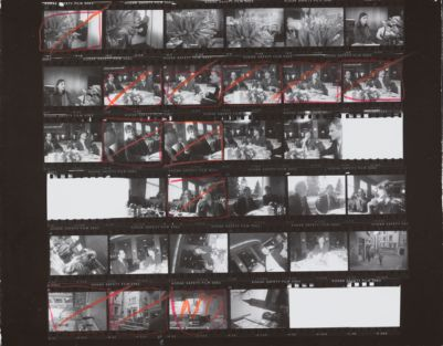 [Zurich-Dusseldorf: Thomas Ammann; Fred Hughes, Loulou De La Falaise, Thomas Ammann, Bob Colacello at restaurant; Street scenes]