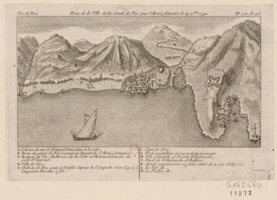 Prise de <em>la</em> ville et du comté de Nice par l'armée française le 29 7.bre 1792 [estampe]