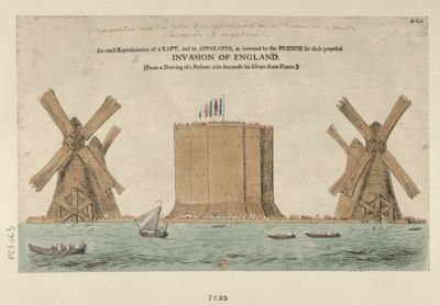 An Exact representation of a raft, and its apparatus, as invented by the French for their proposed invasion of England [estampe]