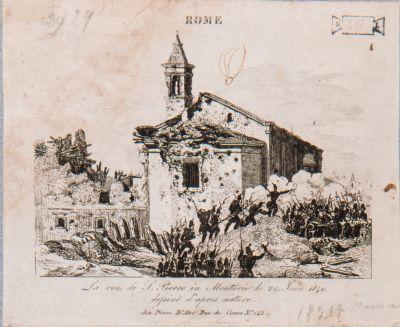 S. Pietro in Montorio dopo il bombardamento del 29 giugno 1849