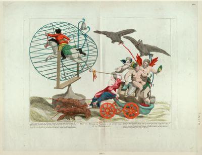 Trait de l'histoire de France du 21 au 25 juin 1791 ou la metemorphose Silene voyageant monté sur Mirabeau Tonneau, son énorme poids lui fait rendre les derniers soupirs. Son mauvais génie le trompe et lui fait voir dans un miroir la route qu'il désire parcourir, mais opposée a celle qu'il vouloit prendre... : [estampe]