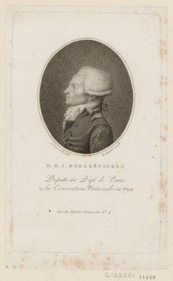 M.M.J. Roberspierre né <em>à</em> Arras en 1759. Député du dépt. de Paris <em>à</em> la Convention nationale en 1792. Décapité le 10 thermidor l'an 2 de la République : [estampe]