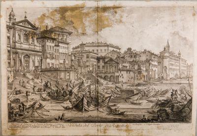 Porto di Ripetta, veduta generale di scorcio da san Girolamo degli Schiavoni fino al Collegio Clementino