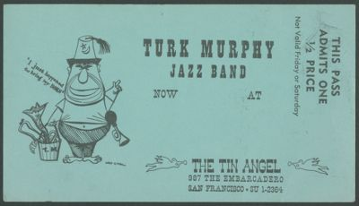 Postcard for The Tin Angel, featuring the Turk Murphy Jazz Band