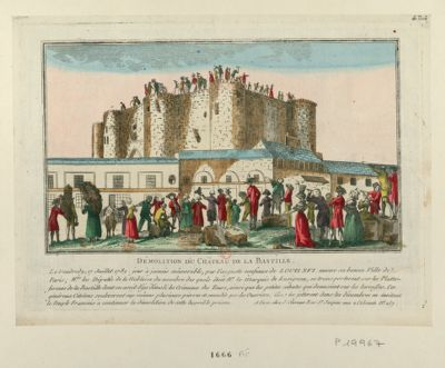 Démolition du Château de la Bastille le vendredy, 17 juillet 1789 jour à jamais mémorable par l'auguste confiance de Louis XVI envers sa bonne ville de Paris Mrs les députés de la noblesse du nombre des quels étoit Mr le marquis de Lusignan, se transporterent sur les plattes-formes de la Bastille... : [estampe]