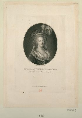 Marie Antoinette archid.se d'Autriche née à Vienne le 2 novembre 1755. Mariée à Versailles le 16 mai 1770. Reine de Fr. en 1774. Décapitée le 25 octobre 1793 l'an 2 de la Rép. : [estampe]