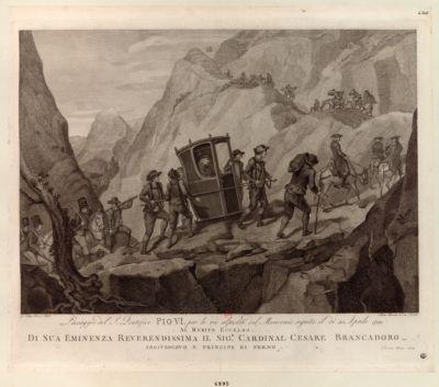 Passagio del S. pontefice Pio VI. per la vie alpestri del Moncenis seguito il di 30 aprile 1799 [estampe]