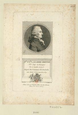 P.re Et.ne Lazarre Griffon ch.er seig.r de Romagué né à Saintes en 1723 député des communes de la Rochelle aux Etats géneraux de 1789 : [estampe]