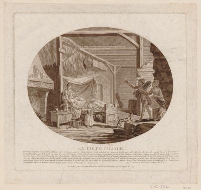 La  Piété filiale le nommé Gagneux et sa femme, manouvriers à Sevran, près de Livry, étoient sortis pendant ces derniers froids pour aller chercher du bois... : [estampe]