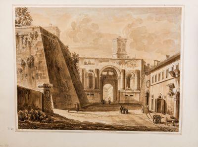 Porta di Santo Spirito in Roma vista da via della Lungara