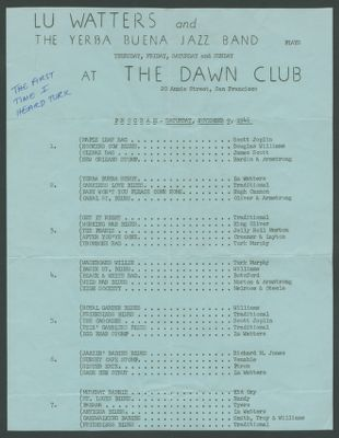 Yerba Buena Jazz Band Dawn Club program