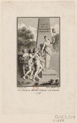 Les  Grâces offrent l'amour à la Liberté. 1793 [estampe]
