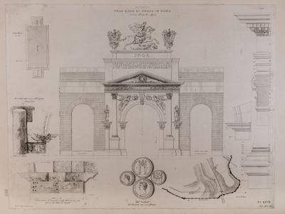 Via Appia, arco di Druso, particolari e ricostruzione
