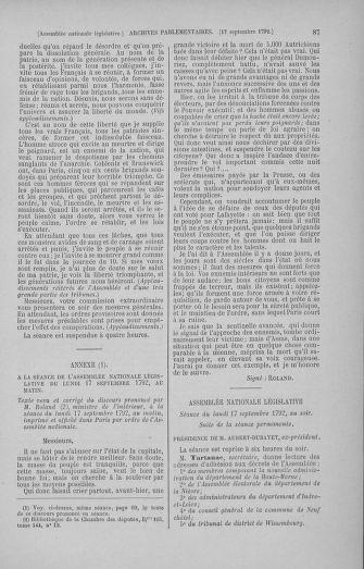 Tome 50 : Du 15 au 21 septembre 1792 - page 87