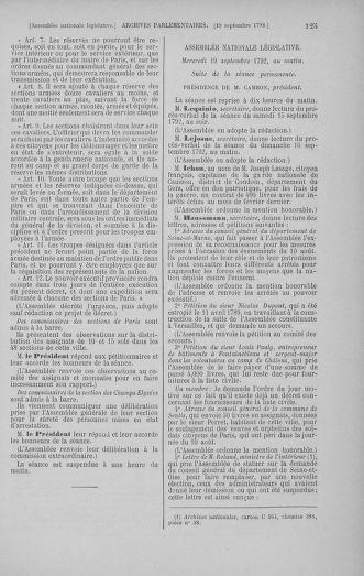 Tome 50 : Du 15 au 21 septembre 1792 - page 125