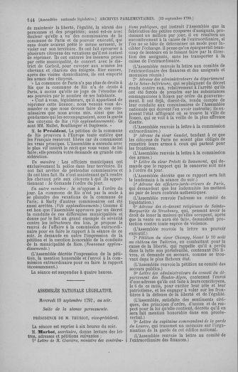 Tome 50 : Du 15 au 21 septembre 1792 - page 144