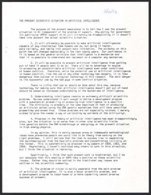 """Artificial Intelligence 1973 - The Present Scientific Situation in Artificial Intelligence, Handwritten notes and """"AI"""""""