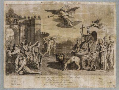 Porta Flaminia, scorcio. Scena di ritorno di Pio VII
