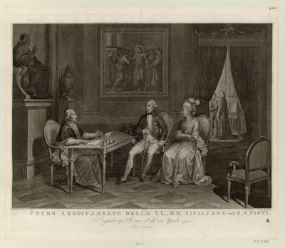 Primo abboccamento delle LL.MM. siciliane con S.S. Pio VI seguito in Roma il di 20 aprile 1791 : [estampe]