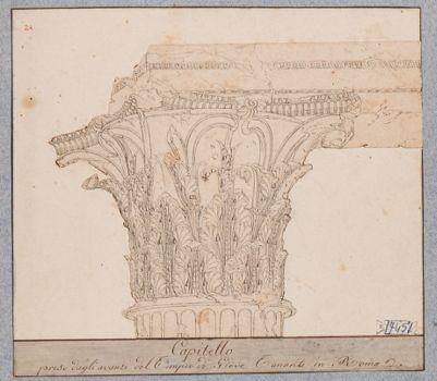Tempio di Vespasiano, capitello e trabeazione