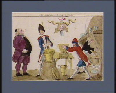 L' Onguent national au chef passé, présent, futur. Cornu pharmacien, natif de Rennes en Bretagne, ayant fait la découverte du calembourg ou de l'onguent national pour détruire les cors et les empêcher de revenir en offre ici la recette... : [estampe]