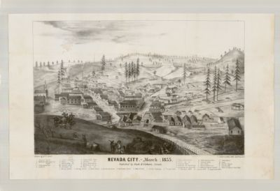 Nevada City. - March, 1855. Published by Cook & Coburgn, Nevada
