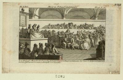 Marat au tribunal révolutionnaire le 24 avril <em>1793</em>, Marat décrété d'accusation fut traduit devant le tribunal révolutionnaire... : [estampe]