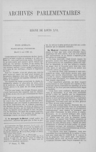 Tome 8 : Du 5 mai 1789 au 15 septembre 1789 - page 1