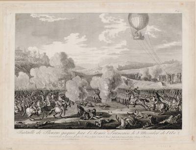 Bataille de Fleurus gagnée par l'armée française le 8 messidor de l'an 2 commandée par les généraux Jourdan, Le Fevre, et Hatri : contre l'armée impériale ; commandée par Cobourg et Beaulieu : [estampe]