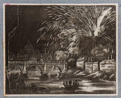 Castel S. Angelo e ponte Elio, fuoco d'artificio dal Castello