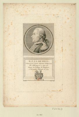 M.F.J.A. de Hell colonel de la légion citoyenne de Haguenau, né <em>à</em> Hirsingen le 11 juin 1731. Député du baillage de Haguenau, <em>à</em> l'Assemblée nationale de 1789 : [estampe]