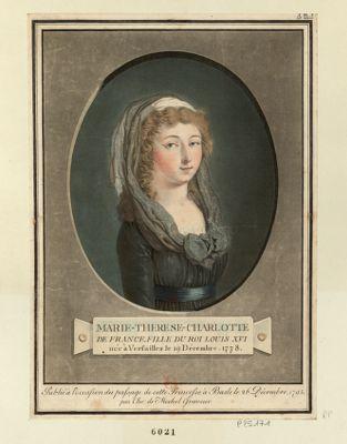 Marie-Thérèse-Charlotte de France fille du Roy Louis XVI née à Versailles le 19 décembre 1778 : [estampe]
