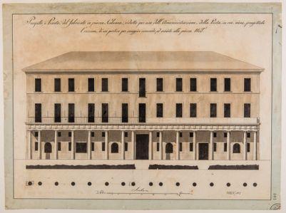 Piazza Colonna. Edificio, prospetto e pianta