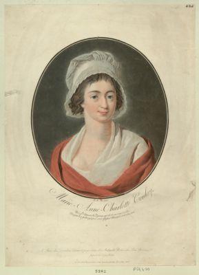 Marie-Anne Charlotte Corday née à St Saturnin les Vignaux, agée de 25 ans... : [estampe]
