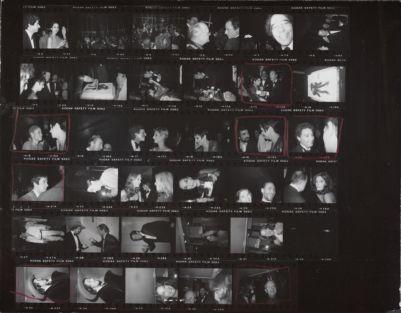 [Liza Minnelli's birthday party at Halston's apartment with Carol Channing, Truman Capote, Peter Beard, Liza Minnelli, Halston, Martin Scorsese, Robert De Niro, Jane Holzer, Barbara Allen, Catherine Guinness, and Bryan Ferry]