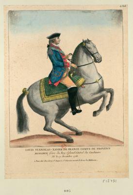 Louis Stanilas-Xavier de France c.te de Provence Monsieur frere du Roy colonel général des carabiniers né le 17 novembre 1755 : [estampe]