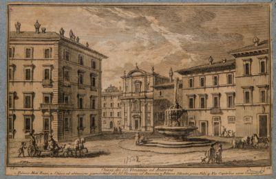 Piazza Aracoeli, con vista della fontana e della chiesa dei SS. Venanzio e Ansovino
