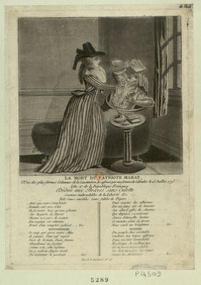 La  mort du patriote Marat l'Une des plus fermes Colomnes [sic] de la Constitution Assassinée par une Femme du Calvados le 13 Juillet 1793 l'An 2.<em>e</em> de la République Française ... : [estampe]
