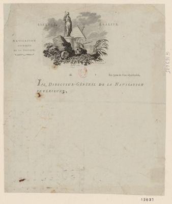 Navigation interieure de <em>la</em> <em>Belgique</em> liberté égalité. Le directeur general de <em>la</em> navigation interieure : [estampe]