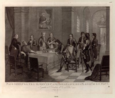 Pace conclusa fra il gen.le in capo Bonaparte, ed i plenip.ri di S.S. Pio VI seguita <em>a</em> Tolentino il di 19 febr.io 1797 : [estampe]