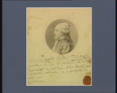 Louis Jacques Hyppolite Corroller s.ieur du Moustoir conseiller du Roy, son procureur et député [illisible] du baillage d'Hennebont, du Port Louis et de Lorient en Bretagne à l'Assemblée nationale, né à Quimperlé le 3 avril 1742 : [dessin]