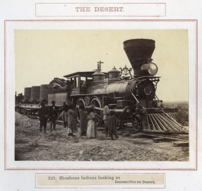 Shoshone Indians Looking At Locomotive On Desert. # 323, Photograph