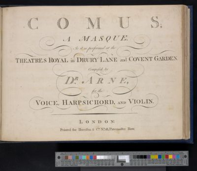 Comus : a masque : as it is performed at the Theatres Royal in Drury Lane and Covent Garden : for the voice, harpsichord, and violin