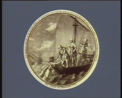 La  France prête à se noyer après un naufrage, est sauvée par le Roi et son ministre dans une barque conduite par la Sagesse [estampe]